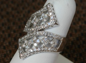 Side View of Geometric Styled Bypass Ring in White Gold and Diamonds